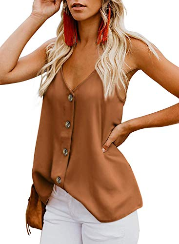 Durio Top Damen Sexy Tank Top Damen Sommertop Spaghetti Top Ärmellose Bluse V-Ausschnitt Shirt Orange EU 38 (Herstellergröße S) - Sexy Tops Blusen