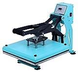 RICOO T438C-TB Transferpresse Textilpresse Textildruckpresse Klappbar Thermopresse Transferdruck Bügelpresse Textil T-Shirtpresse Sublimationspresse/Türkis-Blau