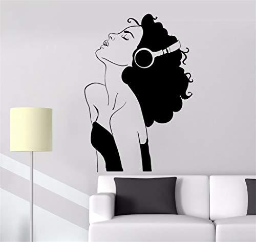wandaufkleber spruch disney Zimmerabziehbild schöne Mädchen Kopfhörer Musik Raum Dekor Musical (Mädchen-raum-dekor Disney)