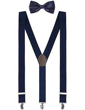 Herren Basic Y-Form Hosenträger 3 Stabile Clips Hochelastisch Längenverstellbar - Breite 3,5cm Länge 110cm Einfarbig