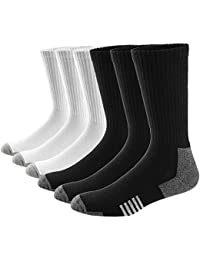 Ueither Hombre Mujer Cómodos y Transpirables Calcetines de deporte Acolchados Performance Crew Socks 6 Pares