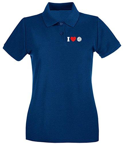 Cotton Island - Polo pour femme TLOVE0088 i love volleyball tshirt Bleu Navy