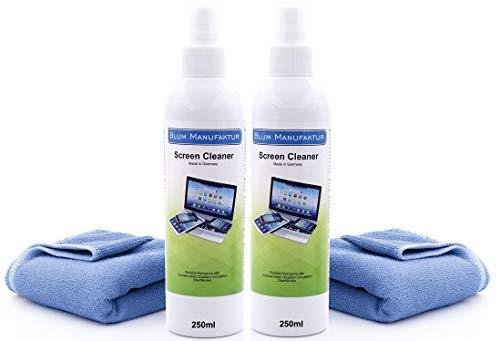 Blum - 2X 250ml Bildschirmreiniger + 2X Mikrofasertuch 30x30 cm. Perfekte Reinigung Aller Bildschirme und Displays. Streifenfrei ohne Schlieren.
