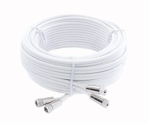 Mast Digital 5 m Twin Satellite Shotgun Cable Extension Kit with Premium Fitted Compression F Connectors for Sky and Freesat - White