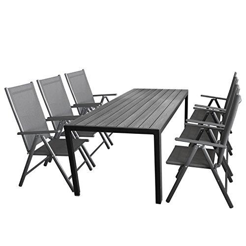 Wohaga Gartenmöbel-Set 7tlg. Sitzgarnitur mit Aluminium, Polywood Gartentisch + 6X verstellbare Aluminium Hochlehner mit Komfortbespannung Anthrazit