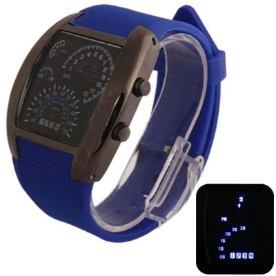 Your only brother Bequemlichkeit Blu-ray LED-Uhr mit schwarzem Silikonarmband, sowohl für Männer als auch für Frauen Gute Qualität (Farbe : Blau)