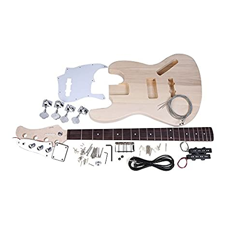 Andoer® Jazz Bass Style 4-String Electric Bass Guitar with Solid Basswood Body, Maple Neck Rosewood Fingerboard Wood DIY Kit Set - Nichel 7 String Chitarra