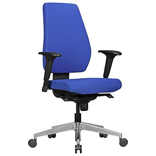 AMSTYLE Bürostuhl Darius mit Stoff-Bezug in Blau | Design Schreibtisch-Stuhl mit Synchromechanik & Armlehnen | Drehstuhl Drehsessel ergonomisch 120 kg