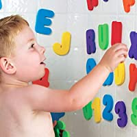 Twakom Bath foam letters & numbers with Mesh Bath Toys Organizer, 36 count