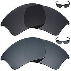 MRY 2 Paar polarisierte Ersatzgläser für Oakley Half Jacket 2.0 XL Sonnenbrillen - satte Farben, OY057H2P7, Stealth Black & Black Iridium