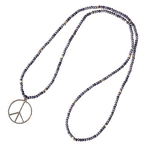 KELITCH Fait Main Tribal Style Matt Hématite Perles Longue Collier Mit Signe de Paix Anti - Guerre Pendentif