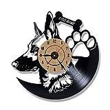 XIAODIANER Hohl Deutscher Schäferhund 3D Rekord Uhr Moderne Wandkunst Schallplatte Hängen Uhr Tier Silhouette Room Decor