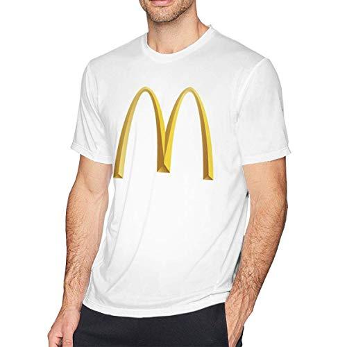 Herren McDonalds Logo Retro Tee Shirts Tshirt Kurzarm Rundhals Baumwolle T-Shirt Fitness Tops für Herren Jugend Jungen Weiß XL -