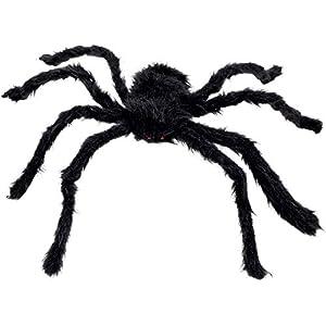 Boland 74394 – Haarige Spinne, Größe max. 70 cm, Schwarz, biegsam, Plüsch, Dekoration, Spielzeug, Halloween, Karneval…