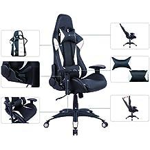 AmazonBasics - Gaming-/Bürostuhl, Rennsport-Design, PU-Leder, Weiß