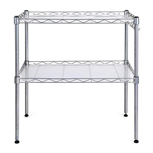 HOMFA Küchenregal Mikrowellenhalter Standregal Küchenschrank 2 Ablage Kohlenstoff Stahl mit 4...