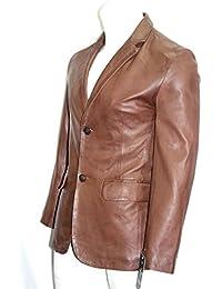 Mann mittelbraun intelligente formale 2 Tasten Blazer aus weichem Nappa echtem Leder
