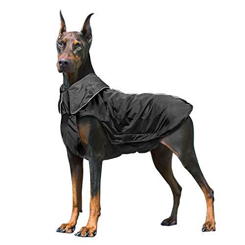 Ireenuo cane cappotto impermeabile, cane giacca impermeabile invernale caldo con nastro riflettente abbigliamento da esterno adatto per cani grandi, medi e piccoli nero-3xl