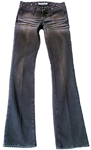 Fornarina Damen Woman Femmes Jeans Grau Gray Gris Schwarz Pike Vintage Nieten Rivets Rivet Rock Star Look Designer Bootcut Hose W27 L34