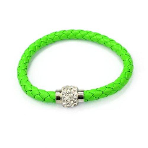 Armband Damen Armbänder DAY.LIN 1PC Armband Magnetische Strass Schnalle Leder Wrap Armband Armreif (C) (Schnalle Leder Bustier)