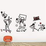 caowenhao Niedlicher Roboter Vinyl Cartoon Sport Wandaufkleber schwarz 85cm X 184cm