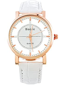 Souarts Damen Weiß Klar Zifferblatt Armbanduhr Quartzuhr Analog mit Batterie