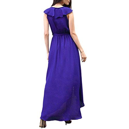 Meijunter Kleider Damen Elegant Lotus Blatt V-Ausschnitt Kleid Ärmellos Vintage Abend Chiffon Kleider A-Linie Kleider Sommer Lang Blau
