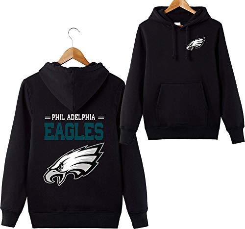 ZXTXGG Männer 3D Hoodies Philadelphia Eagles NFL Football Team Uniform Muster Digitaldruck Liebhaber Kapuzenpullis(XXL,Schwarz) Eagle Herren Hoodie