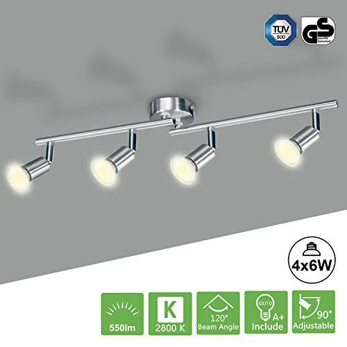 LED Deckenstrahler 4 Flammig Kimjo, LED Deckenlampe Schwenkbar inkl. 4 x 6W Warmweiß 550LM 82Ra 230V GU10 Leuchtmittel Metall Matt Nickel Deckenleuchte Küche -