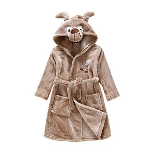 CuteOn Kinder Jungen Mädchen Supersoft Flanell | Bademantel | Dressing Gown Robe | Morgenmantel | Gürtel und Kapuze Hund 120cm - Large (Hund Robe)