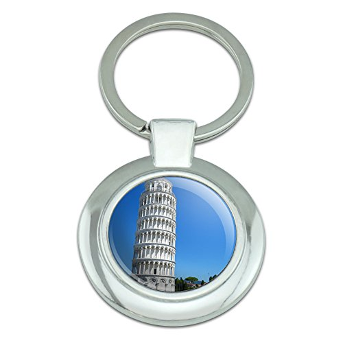 Graphics and More Leaning Tower of Pisa Italy Classy Round Chrome Plated Metal Keychain