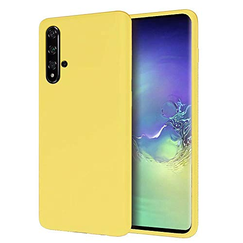KSHOP Hülle Kompatibel mit Huawei Honor 20 Flüssiges Silikon, Ultraleichte Soft TPU Schutzhülle Stoßfeste/Kratzfeste Bumper Handy Case - Gelb