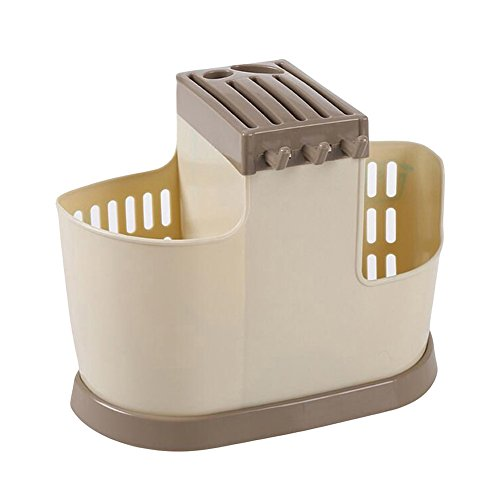 Display08 - Soporte para utensilios de cocina de gran capacidad, soporte para cuchillos, tenedores, soporte de drenaje, bandeja para cubiertos y escurridor, organizador de cubiertos beige