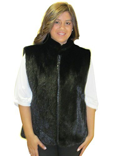FursNewYork 24 vison cheveux longs poils et cuir d'agneau réversible zip veste Mahogany Mink