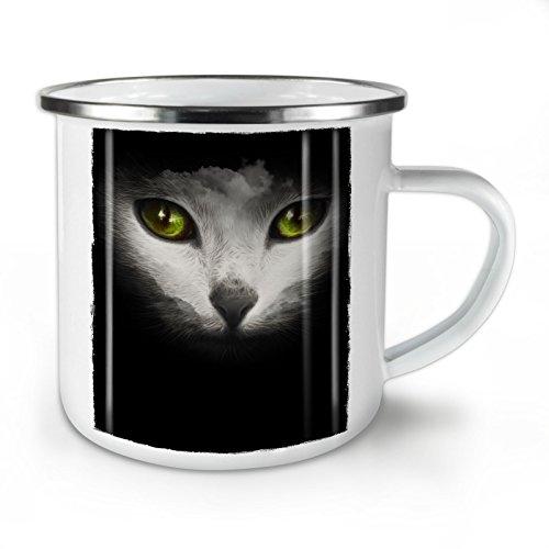 Wellcoda Psychedelisch Tier Katze Emaille-Becher, Tier - 10 Unzen-Tasse - Kräftiger, griffiger Griff, Zweiseitiger Druck, Ideal für Camping und Outdoor