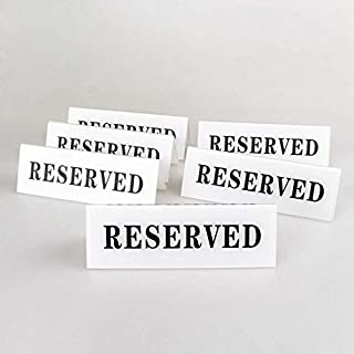 Airgoesin 6pcs Acrylic Reserved Table Seat Sign Plate Double Sided Tent Style Display 12cm x 4cm