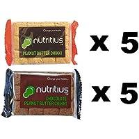 Nutritius Chocolate Peanut Butter Chikki and Peanut Butter Chikki, 125g (10 Packs) - Family Pack