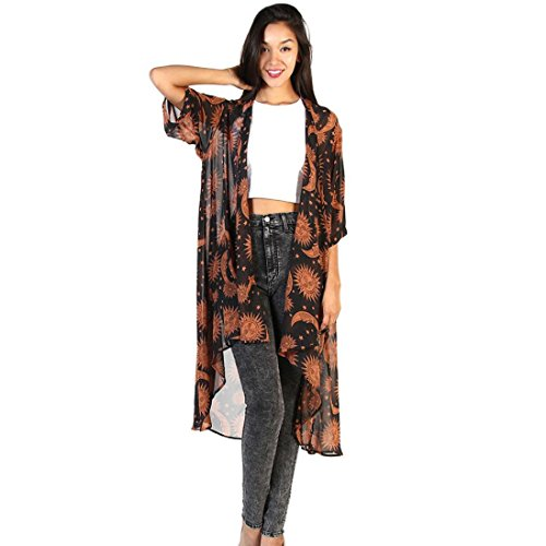 VJGOAL Women Sun Moon Floral Print Chiffon Loose Shawl Kimono Cardigan Top Cover up Shirt Blouse 3/4 Sleeve Cardigan