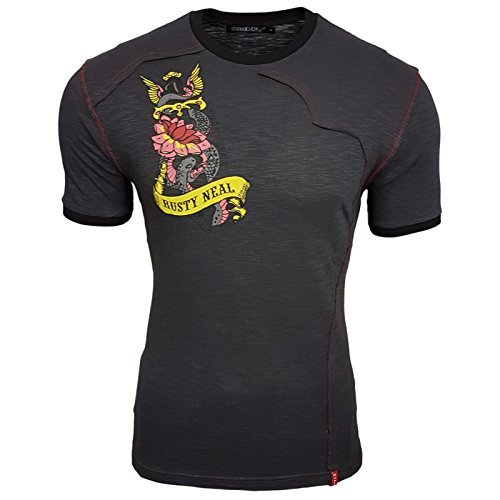 Rusty Neal Herren T-Shirt Kurzarm Logo Rock Star RN311 Schwarz