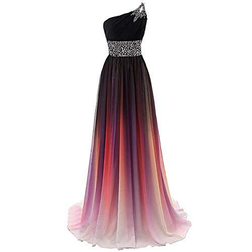 W&TT Frauen Gradienten Farbe Perlen Prom Kleider Chiffon Abend Party Ballkleid lang,Pink,8