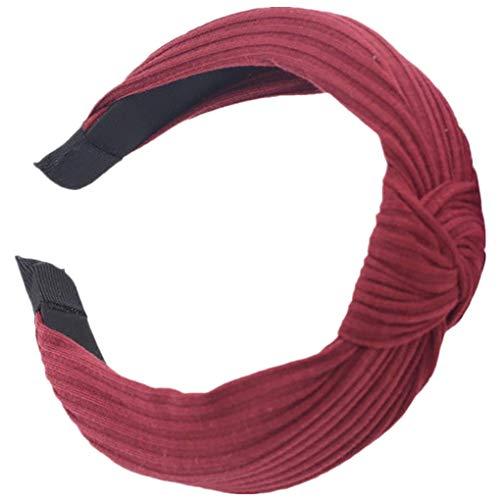 Dorical Haarband Yoga Headband Hairband Damen Stoff Haarreif mit Schleife-Vintage-Wunderschön Stirnband,Haarschmuck Haarreif mit Schleife-Vintage-Wunderschön Stirnband (Rot)