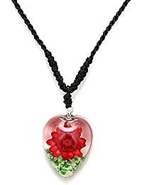 593c3da749f8 Collar hecho a mano - Idin rojo resina transparente diseño de flores en  peluche hecho a