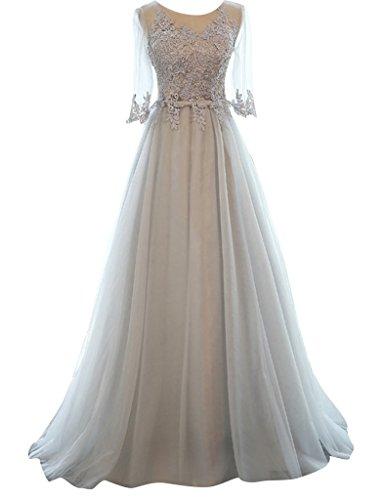JAEDEN Damen A-Linie Prinzessin Tuell Abendkleid Ballkleid Lang Kurzarm Hochzeitskleid Festkleid Grau