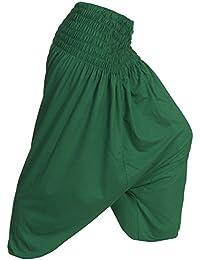 Zarlena Damen Pumphose Pluderhose Aladinhose Haremshose Thai Fisherman Pants Hose einfarbig One Size