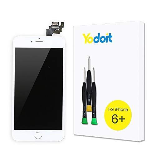 Yodoit Ersatz für LCD Touchscreen Digitizer Display für iPhone 6 Plus Vormontiert mit Home Button, Hörmuschel, Frontkamera& Näherungssensor Reparaturset KomplettErsatzbildschirm mit Werkzeuge (Weiß) - Austausch 6 Iphone Plus Lcd