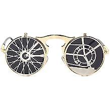 VeBrellen Mode Steampunk Sonnenbrille Rund Reflective Brillen Goggles Fur Herren Und Damen UV400