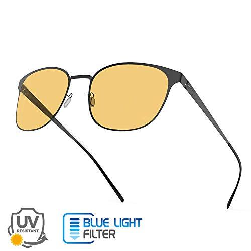 2 in 1 Blaulichtfilter Brille Anti-Glanz Nachtsichtbrille - Avoalre Anti Blaulicht Brille Computerbrille, schraubenloses Metallrahmen PC Gamer Brille, filtern 95% des Blaulichts, UV-Schutz