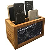 "Nutcase Designer Teak Wood TV Remote Stand For Home Remote Holders Organizer Caddy for TV/AC Remotes Control -Multipurpose Desk Organiser-6""x4""x4"" - BLACK MARBLE"