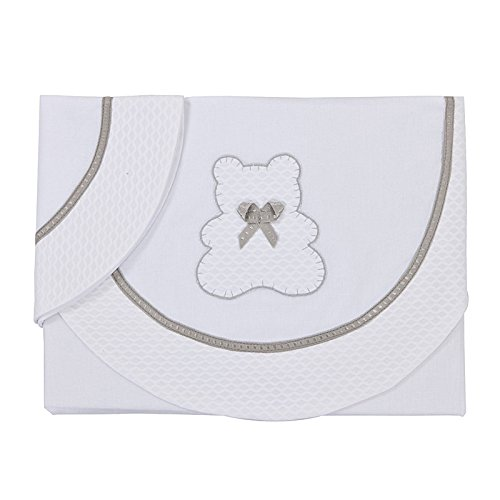 BOLIN BOLON, Set di lenzuola per carrozzina, 117 x 80 + 26 x 42 cm, Bianco (Blanc)