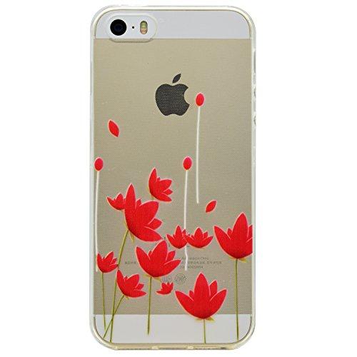 iPhone 6/6S 4.7 gel di silicone Custodia (con Gratuito HD Proteggi schermo) CaseHome Elegante sbalzato bianca Modello Design Cristallo Pulire Ultra magro Magro Antiurto morbido Durevole Graffiare Re Fiori rossi